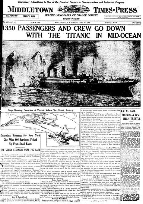MaritimeQuest - Titanic (1912) Front Pages April 16, 1912