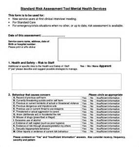Risk Assessment Template Mental Health by 12 Sle Health Risk Assessment Forms Sle Forms