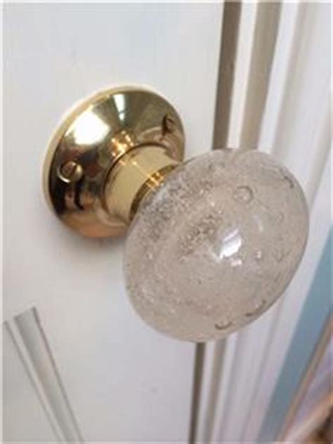 beautiful pair of large glass mortice door knobs