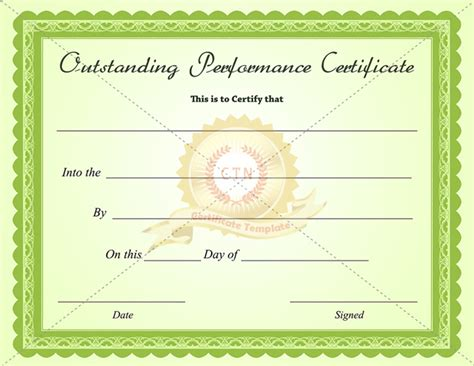 Outstanding Certificate Template outstanding performance certificate template
