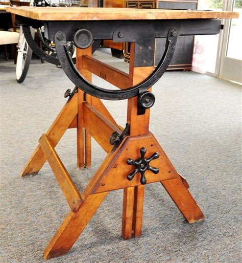 Antique Wooden Drafting Table Antique Hamilton Economy Drafting Table Wood Cast Iron Vintage Ebay