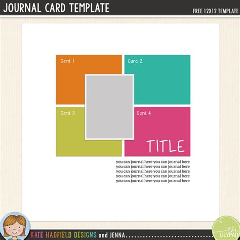 Free Digital Scrapbooking Card Templates by Free Digital Scrapbooking Template Journal Cards Kate