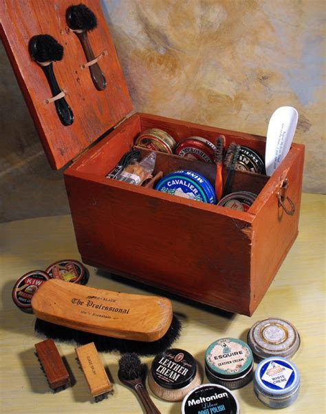diy shoe shine box vintage primitive rustic handmade shoe shine box by