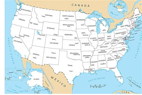Search United States United States Map With All States Capital Cities