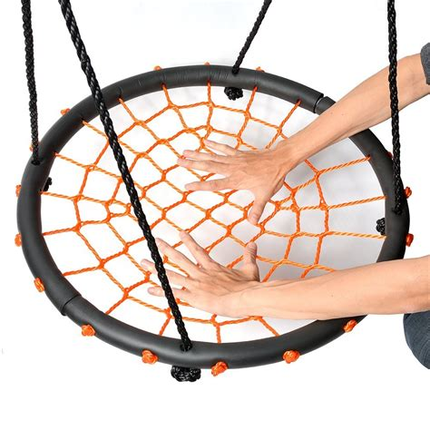 round and round swing 60cm orange round spider web nest swing heavenly hammocks