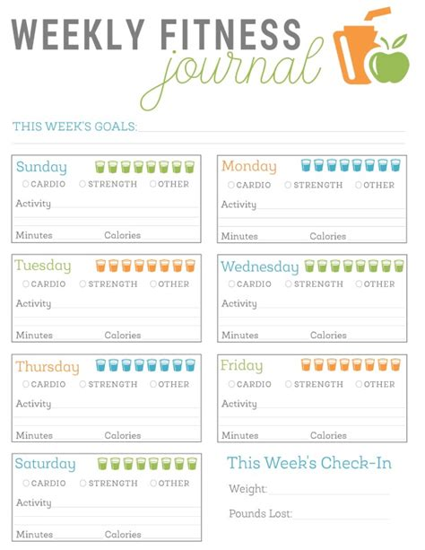 fitness journal template printable free printable fitness journal