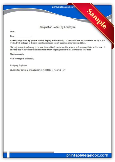Free Printable Resignation Letter By Employee Form Generic Free Printable Resignation Templates