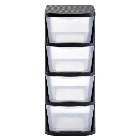 Black Plastic Drawers Rack 4 Drawer Clear Plastic Storage Tower With