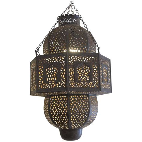 Moroccan Hanging Metal Chandelier At Vintage Moroccan Chandelier In Pierced Metal At 1stdibs