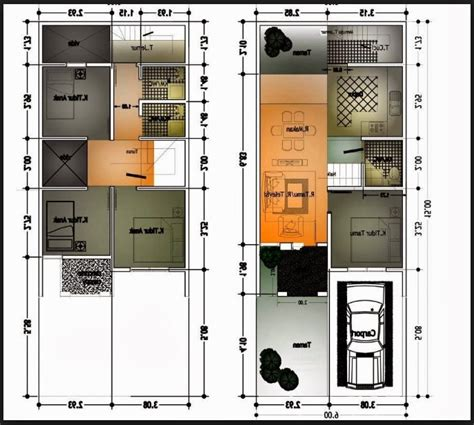 new denah rumah 2 lantai ukuran 6x12 denah