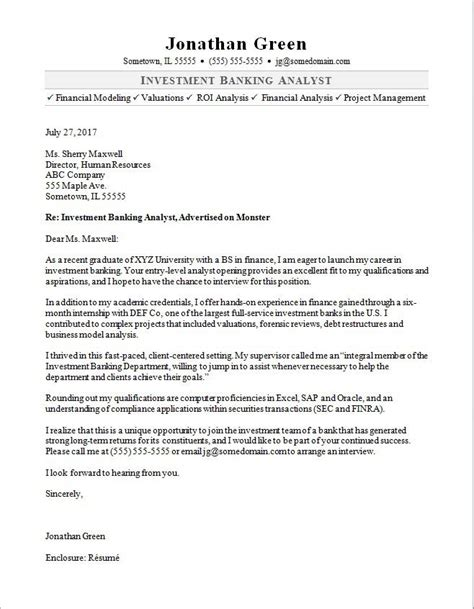 investment banker cover letter sle monster com
