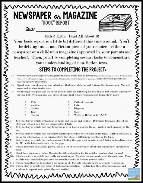 nonfiction book report projects non fiction newspaper or magazine quot book quot report