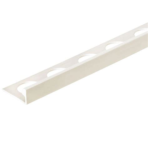 custom building products bright white 3 8 in x 98 5 in pvc l shaped tile edging trim h7702bw98