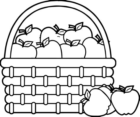 apple computer coloring pages picnic basket apple basket basket apples coloring page