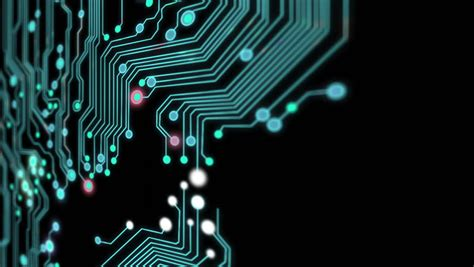 circuit board animation lines by bright spots eventually create an abstract