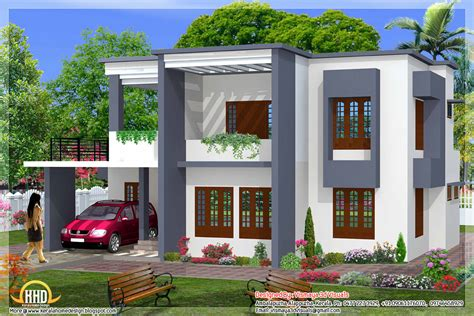 simple  bedroom flat roof house design  sq ft