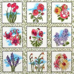 blocks fabri quilt victorian mixed flower squares