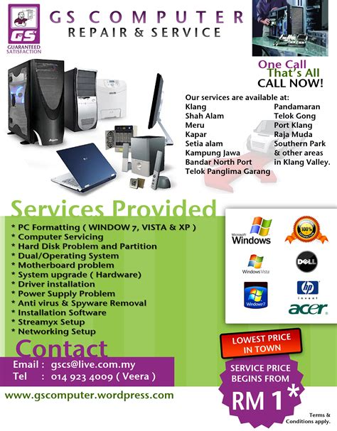 computer repair flyer template word status gs computer repair service