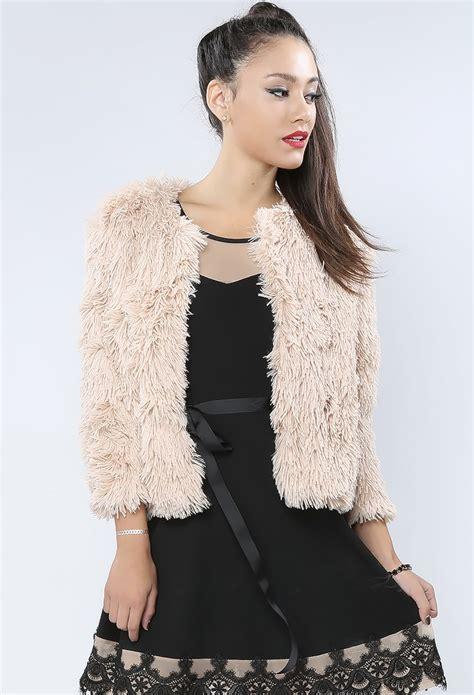 Nania Jaket Soft Jacket Denim fluffy soft faux fur jacket shop jackets at papaya clothing