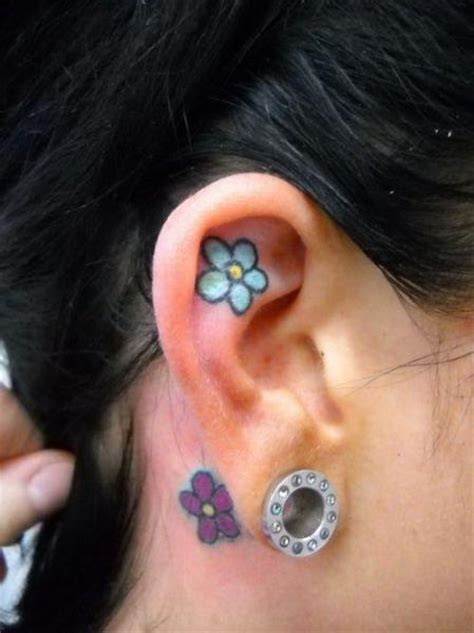 flower ear tattoo flower ear by sonic