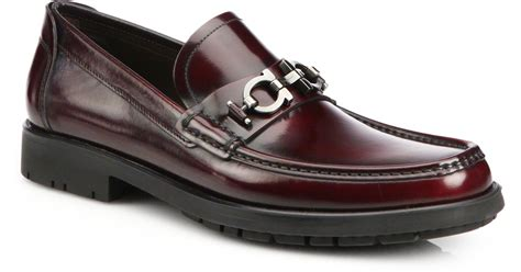 lug sole loafer ferragamo leather lug sole loafers in purple for lyst
