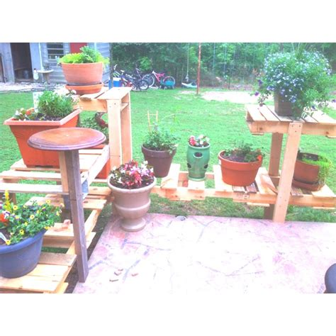 patio plant shelves  pots images  pinterest