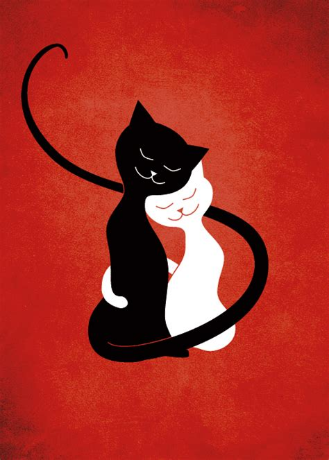 wallpaper cat illustration white and black cats in love red by azzza on deviantart