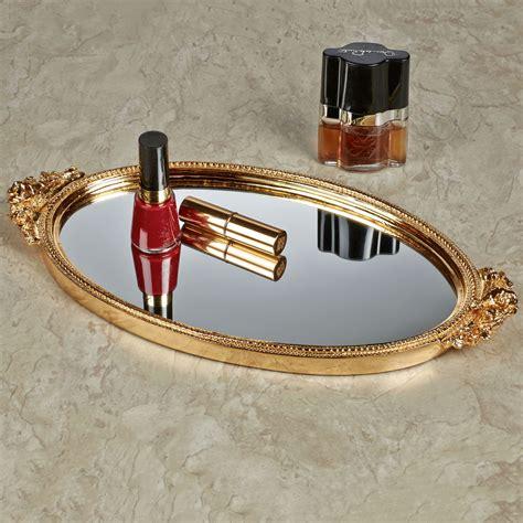 Gold Vanity Tray by Corliss Gold Finish Mirrored Vanity Tray