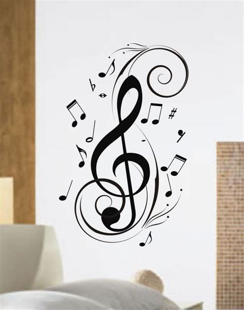 Treble Clef Pendant Necklace Kalung Musik Kunci G notes design decal sticker wall by dabbledown on zibbet