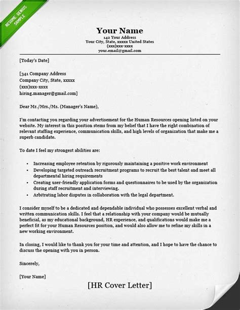 hr covering letter human resources cover letter sle resume genius