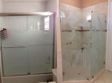 Etched Shower Doors Painted Privacy Stripes For Shower Sandblasted Glass Shower Doors