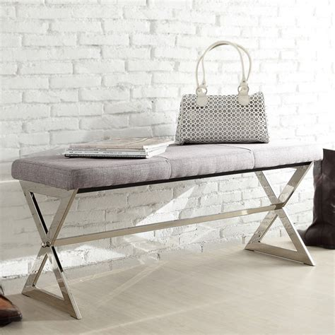 40 inch bench inspire q southport grey linen 40 inch metal bench