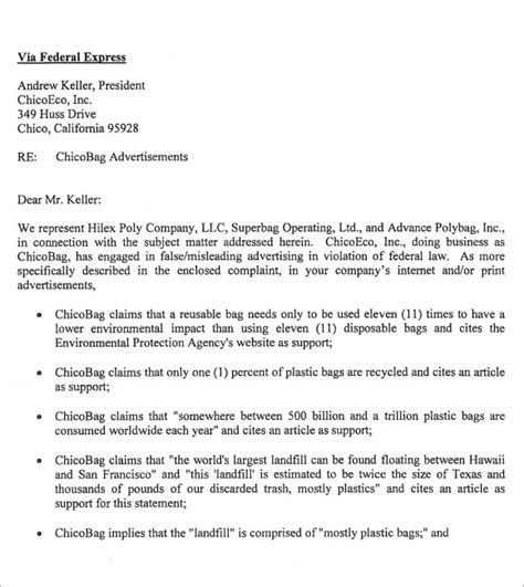 business letter via federal express sle cease and desist 7 documents in pdf word