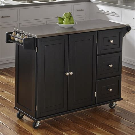 kitchen island cart stainless steel top home styles liberty kitchen island with stainless steel