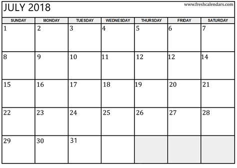 Calendar July 2018 July 2018 Printable Calendar Templates