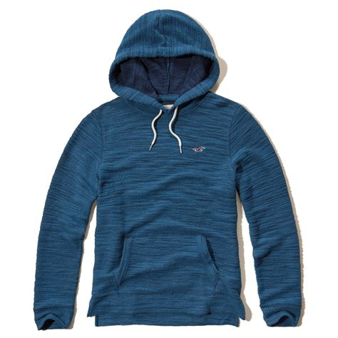 light blue hollister hoodie hollister iconic boucle hoodie in blue for men lyst