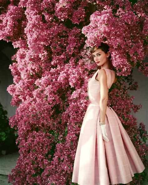 Audreys Pink Dress Now Up For Sale by Norman Parkinson Hepburn With Flowers For Sale At