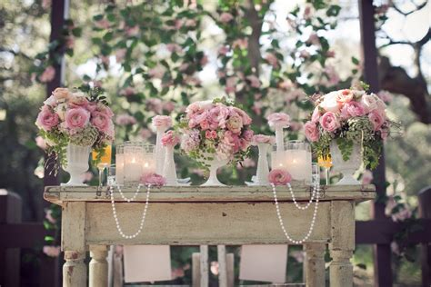 Vintage Garden Wedding Decor Pearls Lace And Pink Garden Wedding Inspiration For Utterly Engaged Magazine Heavenly Blooms