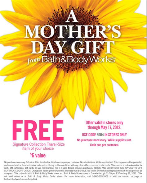 Where To Get Bath And Body Works Gift Cards - bath body works free mothers day gift printable coupon