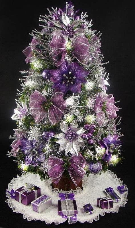 pictures of decorated purple christmas trees mini tabletop tree purple and silver 17 inches