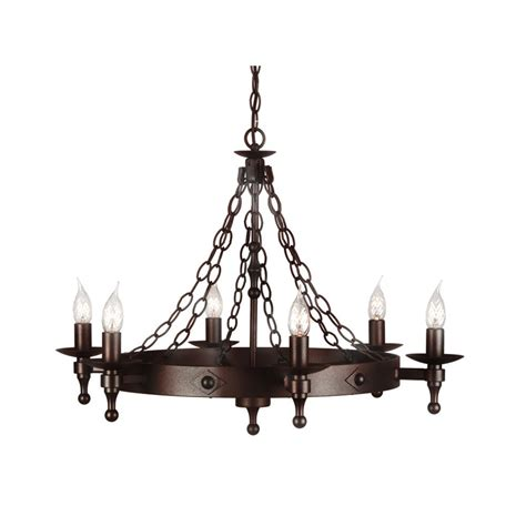 Light Iron elstead lighting warwick 6 light iron chandelier at