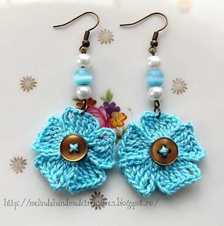 Blue Flower Puff Scarf ravelry blue flowers earrings pattern by melly j