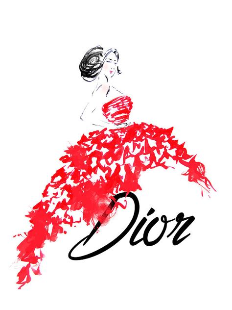 Online Home Decor by Dior Red Dress Watercolor Fashion Illustration Painting