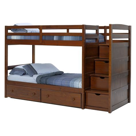 Espresso Bunk Beds With Stairs Home Design Blue Nautical Boys Room Features Espresso In Bunk Beds With
