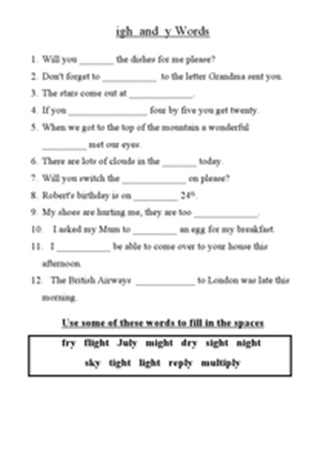Igh Words Worksheets by Igh And Y Words 2nd 3rd Grade Worksheet Lesson Planet