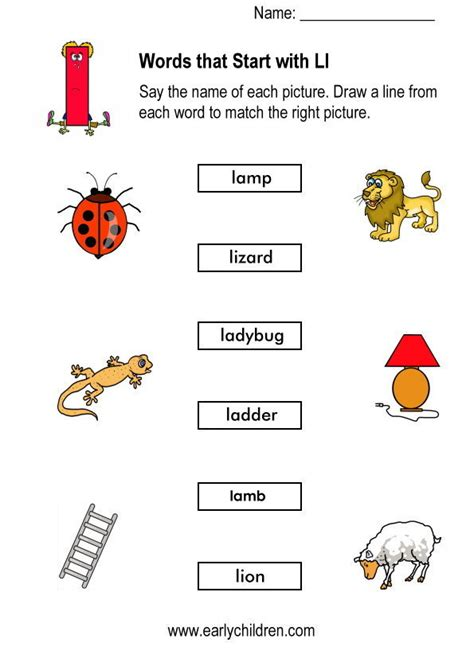 Word For L by Words Starting With L Worksheets For Kindergarten