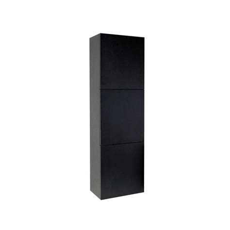 Black Storage Cabinet With Doors Fresca 17 3 4 In W X 59 In H X 12 In D 3 Door Bathroom Linen Storage Cabinet In Black