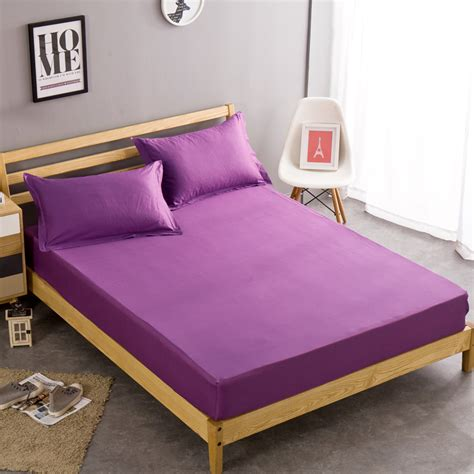 queen bed sheet size 100 cotton single twin full queen size purple solid color