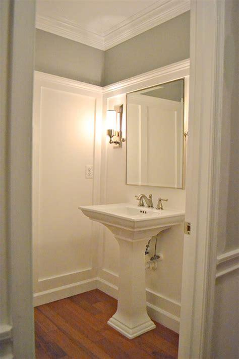 guest bathroom wainscoting wallpaper