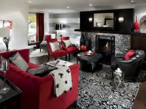 black and white and red living room images